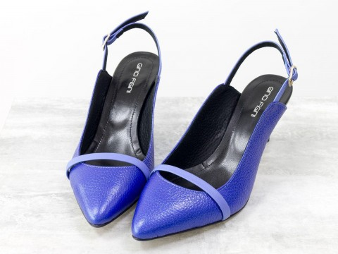 Туфли с открытой пяткой из натуральной кожи синего цвета на шпильке