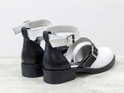 Женские черно белые туфли из натуральной кожи с ремешками