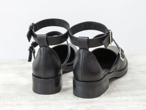Женские черные туфли из натуральной кожи с ремешками