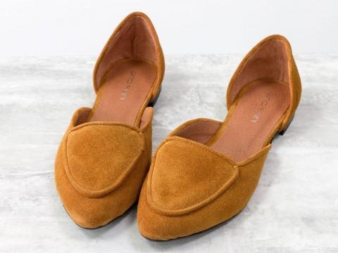 Женские рыжие туфли-лодочки на низком ходу из натуральной замши