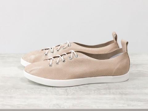 Женские спортивные туфли из натуральной кожи пудрового цвета на белой подошве