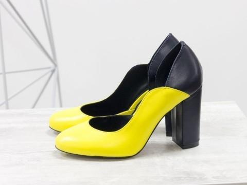 Женские туфли на каблуке из натуральной кожи желто-синего цвета