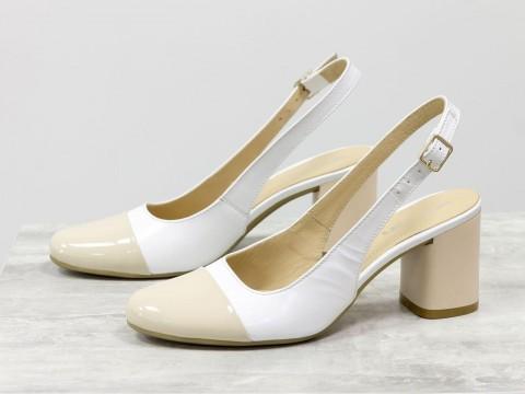 Женские туфли с открытой пяткой из натуральной кожи на среднем каблуке , С-1938-01