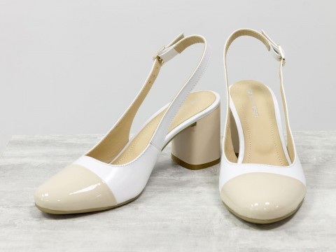 Женские туфли с открытой пяткой из натуральной кожи бело-бежевого цвета