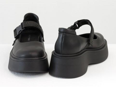 Туфли из итальянской кожи черного цвета на утолщенной подошве, Т-2117-02