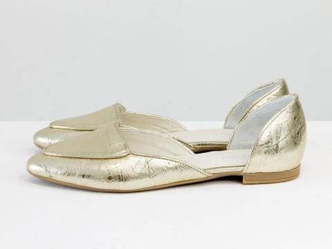 Туфли лодочки без каблука в золотом цвете из натуральной кожи , Д-24-37