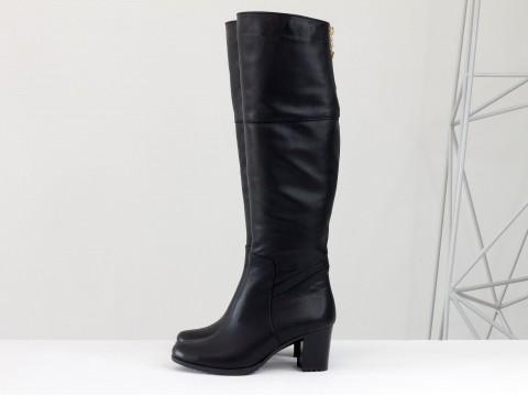 Женские сапоги на каблуке из натуральной кожи черного цвета, М-123-02