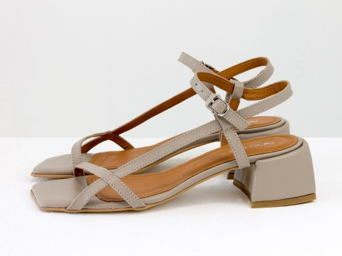 Дизайнерские бежевые босоножки на каблуке из натуральной итальянской кожи, С-2141-01
