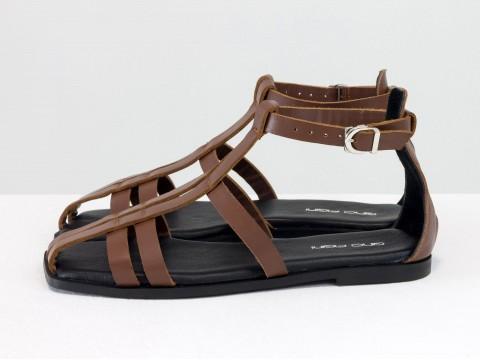 Дизайнерские коричневые босоножки из натуральной кожи коричневого цвета  на низком ходу,  С-2151-01