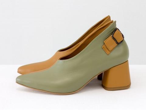 """Дизайнерские закрытые туфли на невысоком обтяжном каблуке из натуральной итальянской кожи оливкового цвета в сочетании кожи """"табак"""",  Т-2056-14"""