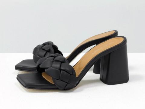 """Дизайнерские шлепанцы """"косички"""" на расклешенном каблуке из натуральной итальянской кожи черного цвета, С-2041-01"""