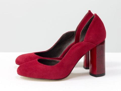 Красные туфли из итальянской натуральной замши на глянцевом красном каблуке с геометрическим рисунком, Т-17423/1-04