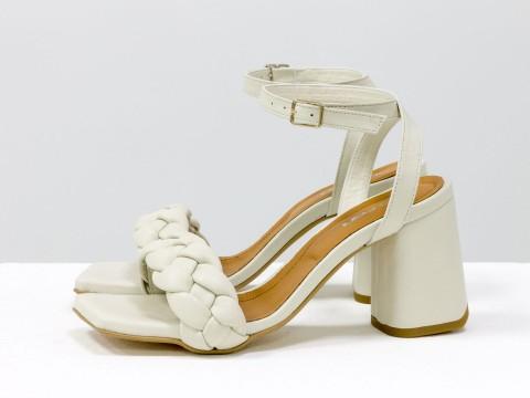 """Дизайнерские бежевые босоножки """"косички"""" на расклешенном каблуке из натуральной итальянской кожи, С-2098-01"""