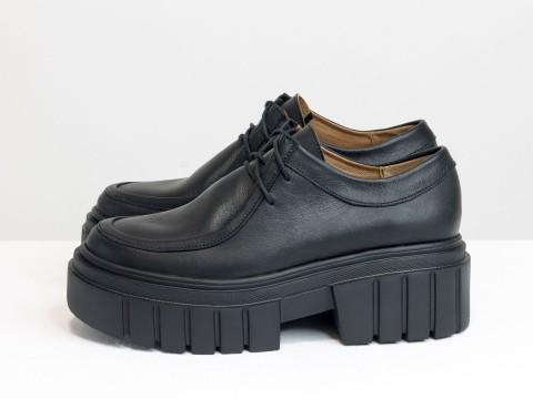 Женские черные туфли, которые сочетают в себе стиль дерби и лоферов на утолщенной тракторной подошве из натуральной кожи, Т-2155-01