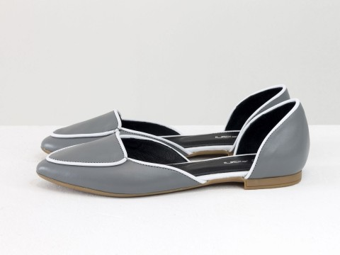 Туфли лодочки без каблука из кожи серого цвета, Д-24-08