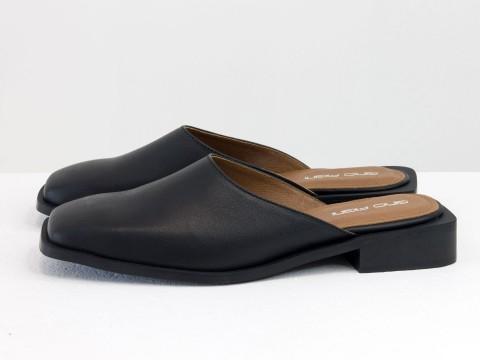 Дизайнерские мюли из натуральной кожи черного цвета на квадратном каблуке