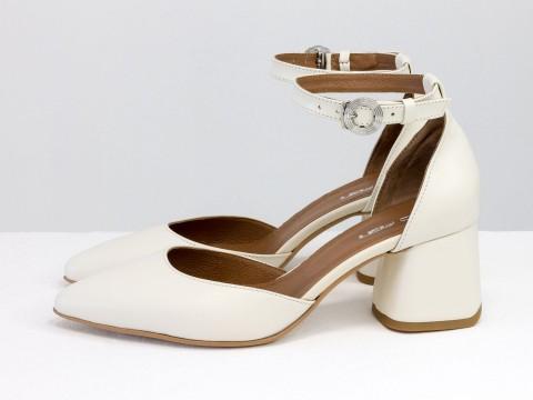 Классические молочные туфли из натуральной кожи на расклешенном каблуке, С-2013-11