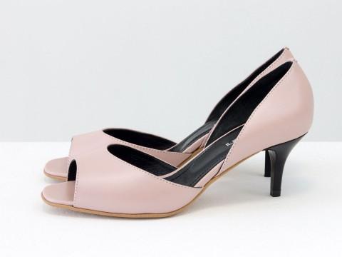 Летние туфли с открытым носиком на невысокой шпильке из натуральной кожи розового цвета, С-1956-08