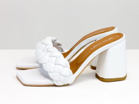 """Дизайнерские шлепанцы """"косички"""" на расклешенном каблуке из натуральной итальянской кожи белого цвета, С-2041-03"""