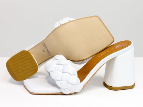 """Дизайнерские  босоножки """"косичка"""" на расклешенном  каблуке из натуральной итальянской кожи белого цвета"""