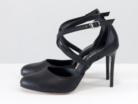 Туфли с ремешками крест на крест из черной кожи на шпильке, С-17043/2-02