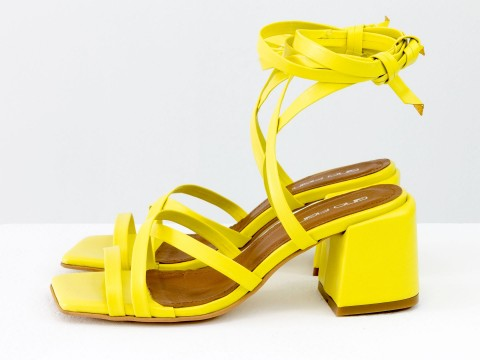 Дизайнерские бесшовные босоножки на завязках, выполнены из натуральной итальянской кожи желтого цвета, С-2145-09