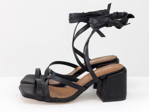 Дизайнерские бесшовные босоножки на завязках, выполнены из натуральной итальянской кожи черного цвета, С-2145-08