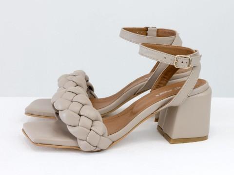 """Дизайнерские босоножки """"косички"""" на расклешенном каблуке из натуральной итальянской кожи цвета """"капучино"""", С-2139-02"""