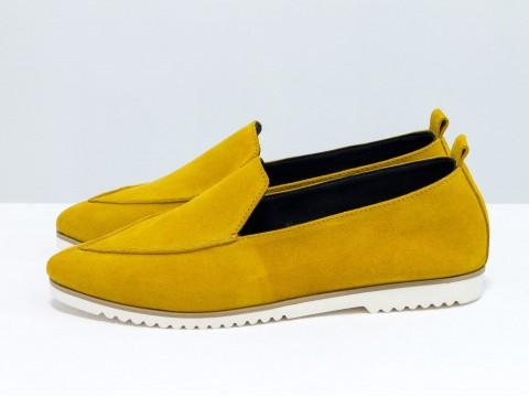 Женские замшевые туфли на низком ходу горчичного цвета, Т-1707-26