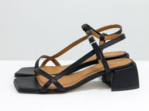 Дизайнерские черные босоножки на каблуке из натуральной итальянской кожи, С-2141-04