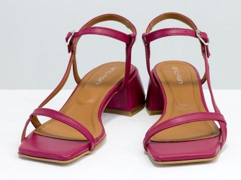 Дизайнерские малиновые босоножки на обтяжном каблуке  из натуральной итальянской кожи