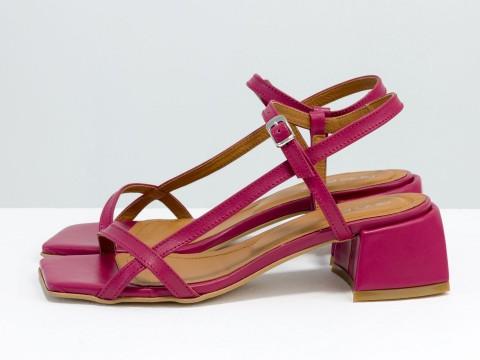 Дизайнерские малиновые босоножки на каблуке из натуральной итальянской кожи, С-2141-05