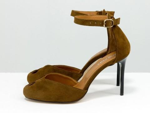 Коричневые туфли на шпильке из натуральной замши , Д-36-03