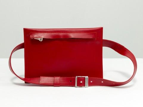 Женская сумка на пояс из натуральной кожи красного цвета , С-03-02