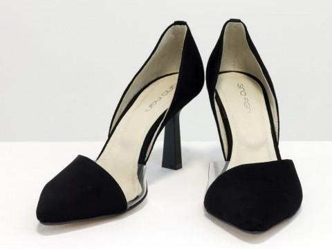 """Туфли лодочки на новом стильном каблуке """"рюмочка"""" из натуральной замши черного цвета, Т-1928-01"""