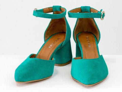 Женские классические туфли с ремешком из натуральной замши цвета морской волны
