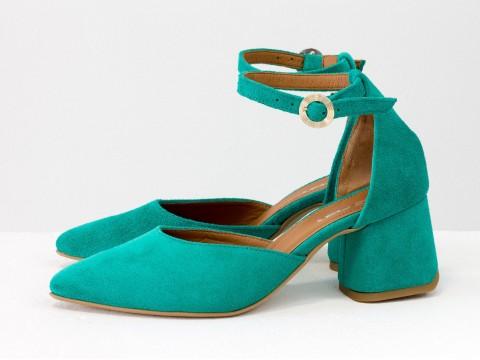 Классические туфли из натуральной замши-велюр бирюзового цвета на расклешенном каблуке, С-2013-06