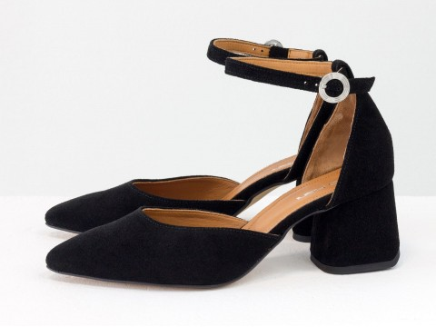 Классические черные туфли из натуральной замши на обтяжном каблуке, С-2013-08