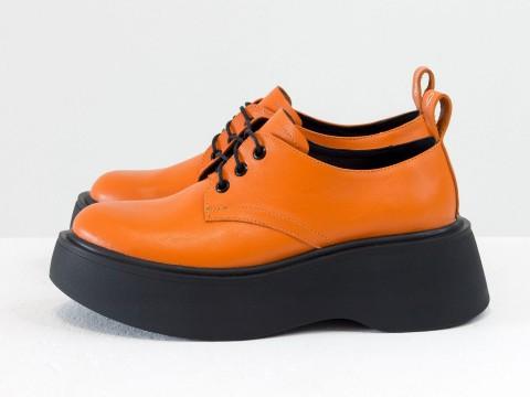 Женские туфли дерби  из натуральной кожи ярко-оранжевого цвета на утолщенной белой подошве, Т-2048-05