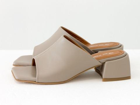 Дизайнерские бежевые шлёпанцы на небольшом каблуке из натуральной итальянской кожи, С-2127-06