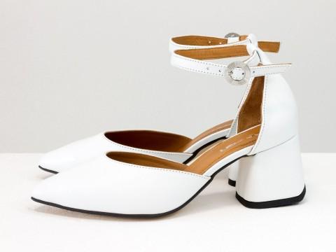 Классические белые туфли из натуральной кожи на расклешенном каблуке, С-2013-09
