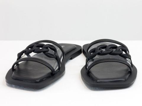 Женские черные шлепанцы на низком ходу из натуральной кожи со вставкой из силикона и цепочкой
