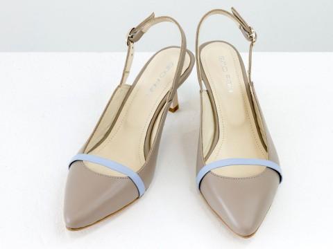 Женские туфли с открытой пяткой из натуральной кожи бежевого цвета на шпильке, С-1907-09
