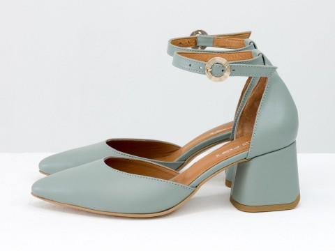 Классические серо-голубые туфли из натуральной кожи на расклешенном каблуке, С-2013-10