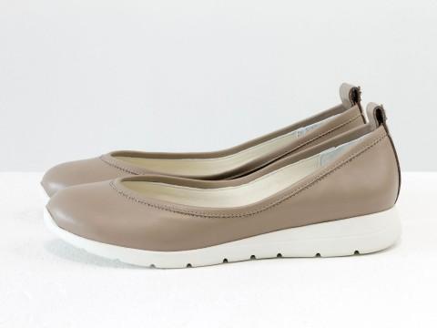 Женские бежевые туфли из натуральной кожи на удобной подошве , Т-1918-06