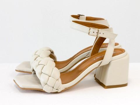 """Дизайнерские бежевые босоножки """"косички"""" на расклешенном каблуке из натуральной итальянской кожи, С-2139-01"""