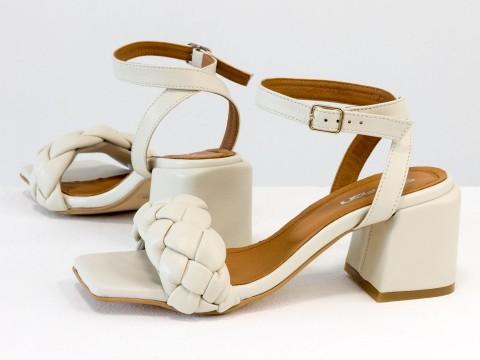 """Дизайнерские бежевые босоножки """"косички"""" на расклешенном обтяжном каблуке из натуральной итальянской кожи"""