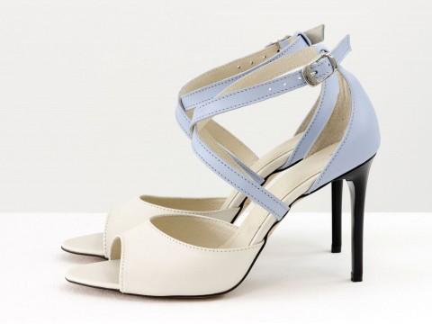 Туфли с открытым носиком из натуральной кожи молочного цвета с легким мерцанием, С-17043-10