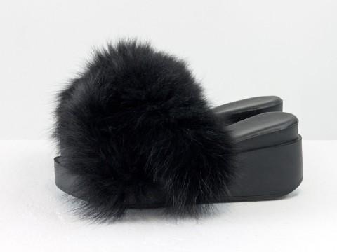 Меховые шлепанцы из кожи черного цвета с мехом из натурального песца черного цвета, С-560/5-05